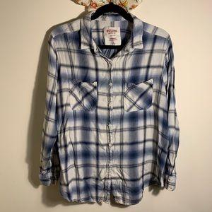 Blue & White Plaid Boyfriend Fit Shirt